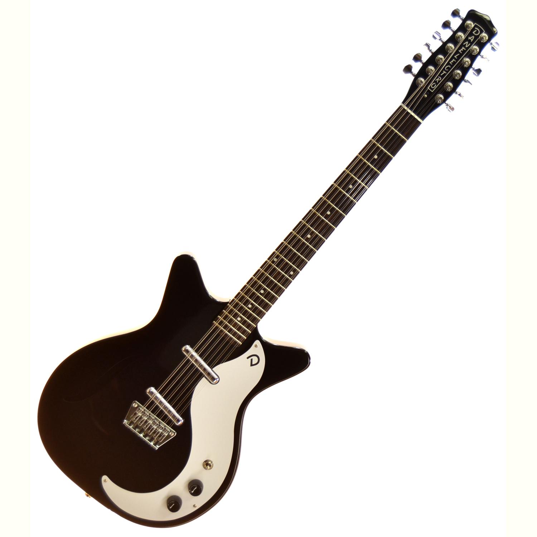 danelectro d59v 12 string 39 59 vintage semi hollow electric guitar black the guitar hangar. Black Bedroom Furniture Sets. Home Design Ideas